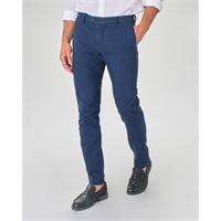 Ashki.i pantalone chino blu indaco principe di galles in misto cotone e lino