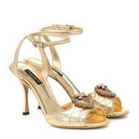 Dolce & Gabbana sandali devotion in pelle metallizzata