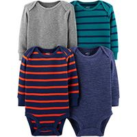 Simple Joys by Carter's 4-pack soft thermal long sleeve bodysuits undershirt, stripes, 12 months