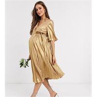 TFNC Maternity - vestito comodo a portafoglio midi a pieghe oro