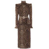 Alessandra Rich abito midi a stampa leopardo in seta