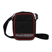 Alexander McQueen borse a tracolla uomo tessuto nero rosso one size