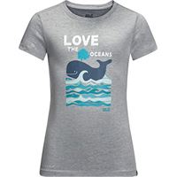 Jack Wolfskin ocean t-shirt, maglietta per bambini, grigio ardesia, 116