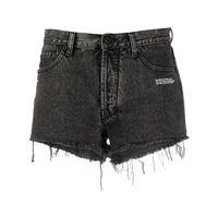Off-White shorts denim con orlo sfrangiato - grigio