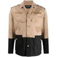 Neil Barrett - giacca stile militare bicolore - men - cotone/spandex/elastam - l, m, xl, xxl - color carne
