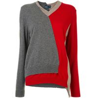 Kolor maglione asimmetrico color-block - grigio