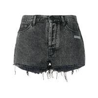 Off-White shorts denim con stampa - grigio