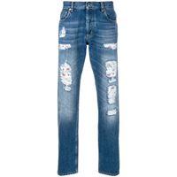Alexander McQueen jeans consumati con ricami - blu