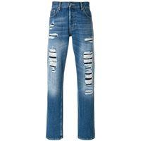 Alexander McQueen jeans con strappi - blu