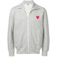 Comme Des Garçons Play - giacca della tuta con motivo cuori - men - cotone - s, xl, m, l - di colore grigio