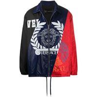 Versace - giacca a pannelli compilation - men - cotone/poliammide/poliestere - 46, 48, 50 - di colore blu