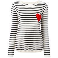 Chinti and Parker breton stripe heart jumper - cream/navy/red