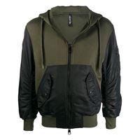 Neil Barrett - giacca bicolore con cappuccio - men - cotone/nylon/poliestere/poliuretanoviscosaelastamelastam - m, l, xl - di colore nero