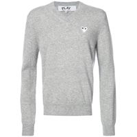 Comme Des Garçons Play v-neck pullover with white heart - grigio