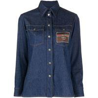 Gucci camicia denim con applicazione - blu