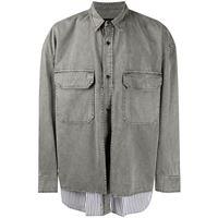 Juun.J - giacca-camicia a righe - men - cotone - 44, 46, 48, 50 - di colore grigio