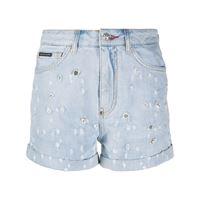 Philipp Plein shorts denim con decorazione - blu