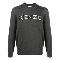Kenzo maglione con ricamo - grigio