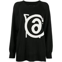 MM6 Maison Margiela maglione con effetto jacquard - nero