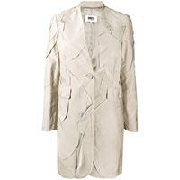 MM6 Maison Margiela cappotto monopetto con effetto coccodrillo - toni neutri