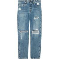 Gucci jeans dritti con effetto vissuto - blu