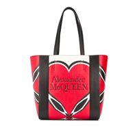 Alexander McQueen borsa tote con stampa - rosso