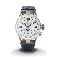 Locman orologio Locman montecristo world dual time cassa acciaio titanio e cinturino pelle blu 0508a08s-00whbkpb