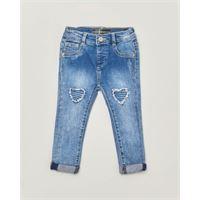 Guess Kids jeans con toppe sfrangiate a cuore lavaggio chiaro super stone washed 9-24 mesi