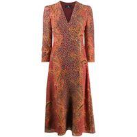 Etro vestito midi con stampa paisley - rosso