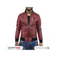 Leather Trend Italy david - bomber uomo in vera pelle colore bordeaux invecchiato
