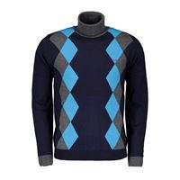 SUN 68 maglione dolcevita in cotone e lana argyle
