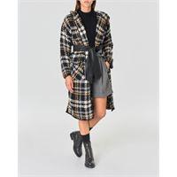 Kocca maxi cardigan-cappotto in maglia fantasia check con cappuccio e fusciacca in vita