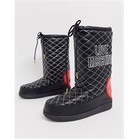 Love Moschino - stivali da neve con logo e cuciture a contrasto-nero