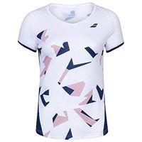 Babolat compete cap sleeve top g, maglietta unisex-bambini, bianco/blu (white/estate blue), 8-10 anni