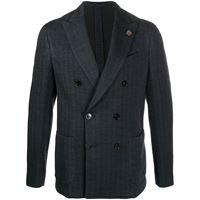 Lardini cappotto doppiopetto con motivo chevron - blu