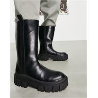 ASOS DESIGN - stivali chelsea con suola spessa in pelle sintetica nera-nero