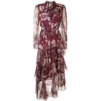 Marchesa Notte leaf-print asymmetric tiered dress - rosso