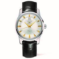 Longines orologio Longines conquest heritage con quadrante argento e cinturino in pelle