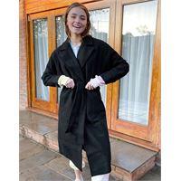 New Look - cappotto lungo nero con spalle scivolate e cintura