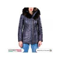 Leather Trend Italy ivette - parka donna in vera pelle di agnello grigio tamponato