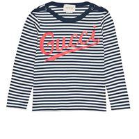 Gucci - t-shirt a righe con logo 24 mesi