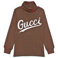 Gucci bambino - maglia a collo alto in cotone con stampa Gucci - bambino - 8 anni - verde