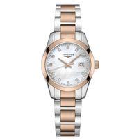 Longines orologio da donna Longines conquest classic con diamanti, quadrante in madreperla bianca e bracciale in acciaio