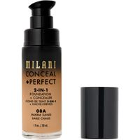 Milani 08a warm sand conceal + perfect 2-in-1 foundation + concealer fondotinta 30ml
