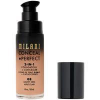 Milani 08 light tan conceal + perfect 2-in-1 foundation + concealer fondotinta 30ml