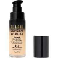 Milani 01a creamy nude conceal + perfect 2-in-1 foundation + concealer correttore 30ml