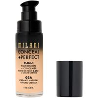 Milani 02a creamy natural conceal + perfect 2-in-1 foundation + concealer correttore 30ml