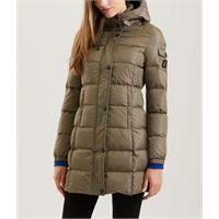 Refrigiwear piumino color fango media lunghezza modello lady long hunter jacket con cappuccio