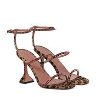 Amina Muaddi sandali gilda in cavallino stampato