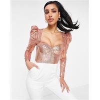 Lavish Alice - top a corsetto con paillettes oro rosa e maniche a sbuffo
